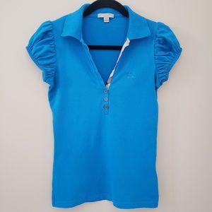 Burberry Blue Cap Sleeve Polo Shirt